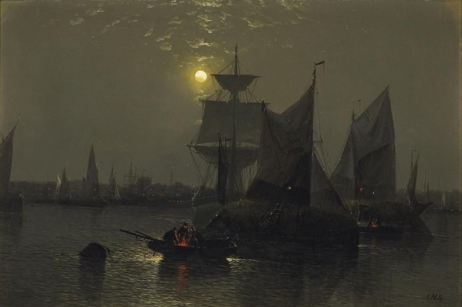 Abraham Hulk, Snr - Sailing vessels in a moonlit harbor with fishermen and their boats in the foreground