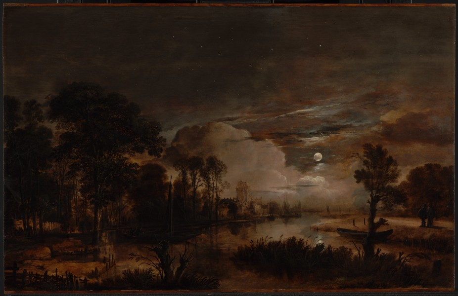 Aert van der Neer - Moonlit Landscape with a View of the New Amstel River and Castle Kostverloren - Google Art Project