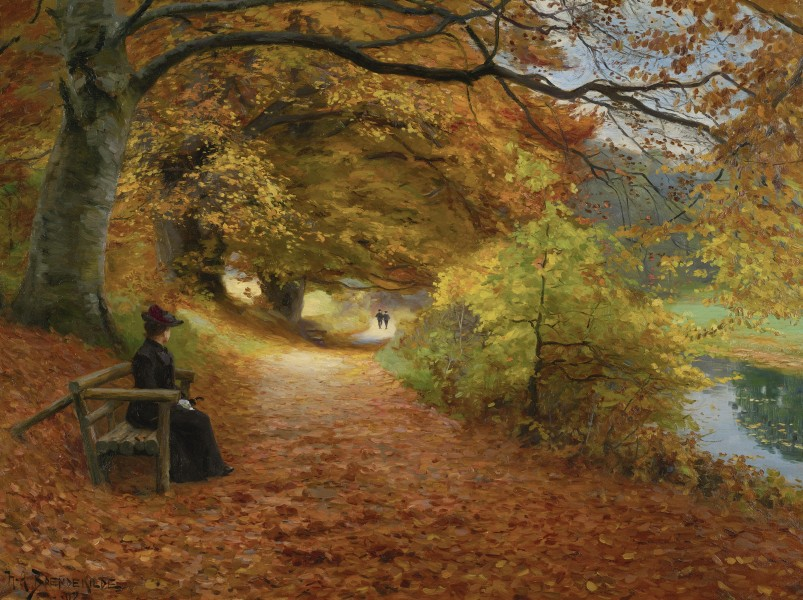 H. A. Brendekilde - A wooded path in autumn (1902)