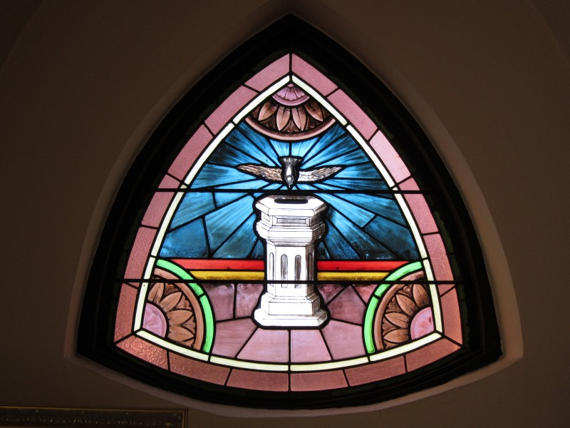 Immaculate Conception, Kenton, OH; baptism window, narthex