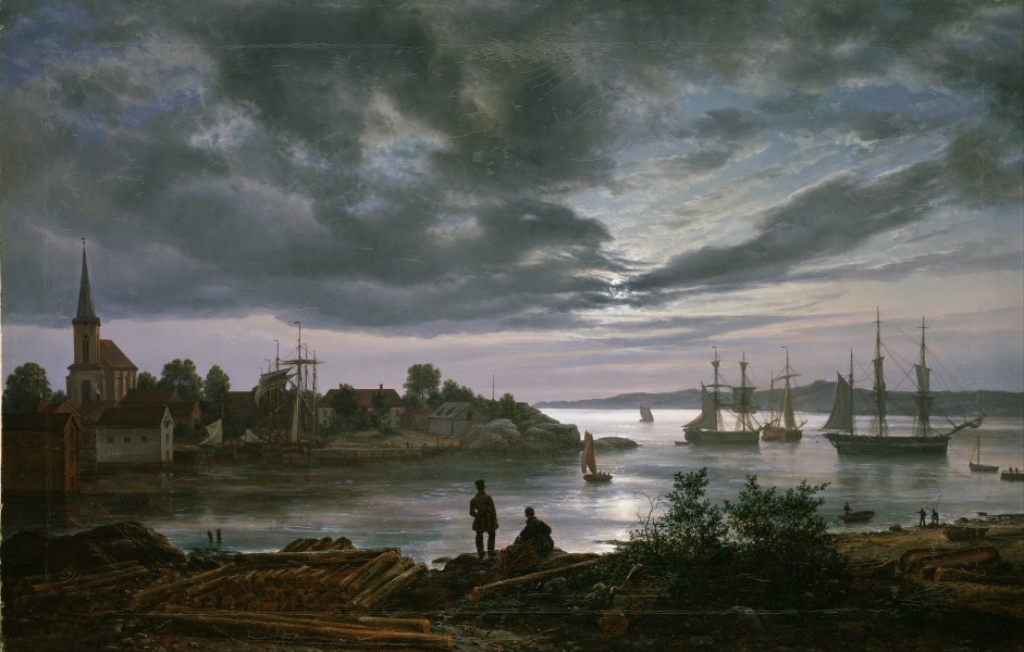 Johan Christian Dahl - Larvik by Moonlight - Google Art Project