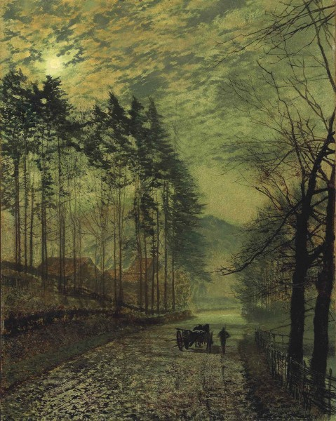 John Atkinson Grimshaw - Near Hackness, a moonlit scene with pine trees