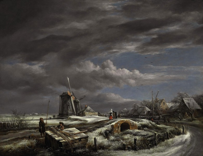 John Constable - A winter landscape with with figures on a path