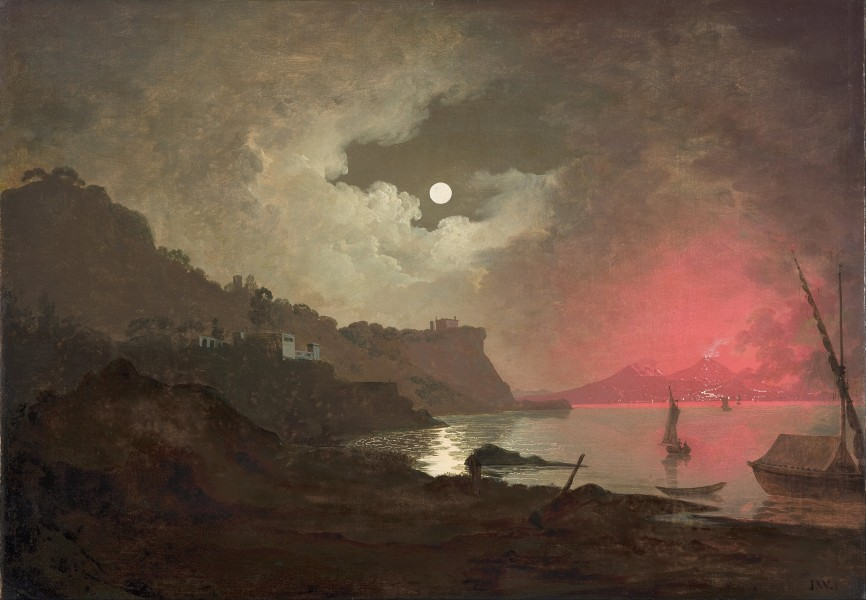Joseph WRIGHT of Derby - A view of Vesuvius from Posillipo, Naples - Google Art Project