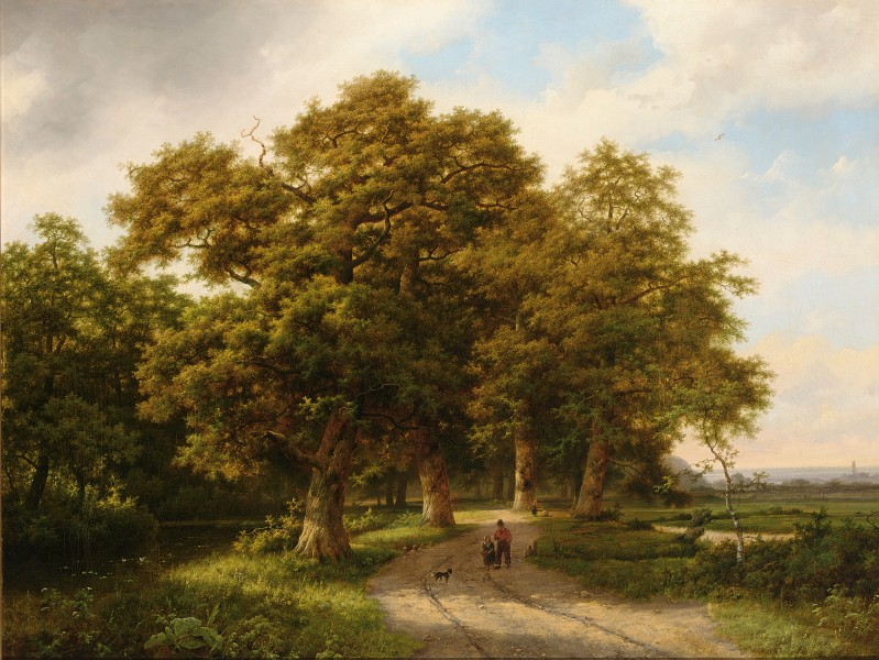 Marinus Adrianus Koekkoek - A wooded landscape with figures on a country road (1861)