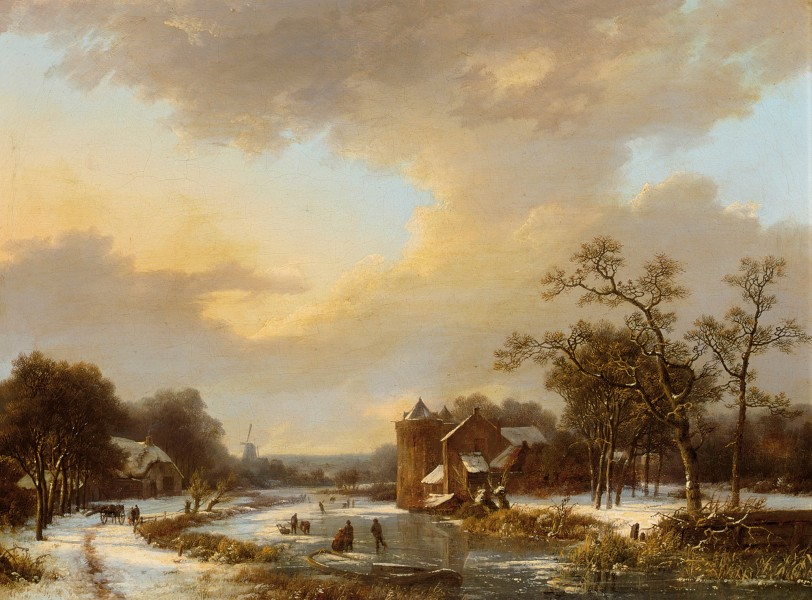 Marinus Adrianus Koekkoek - An extensive Dutch river landscape with figures on a frozen river (1844)