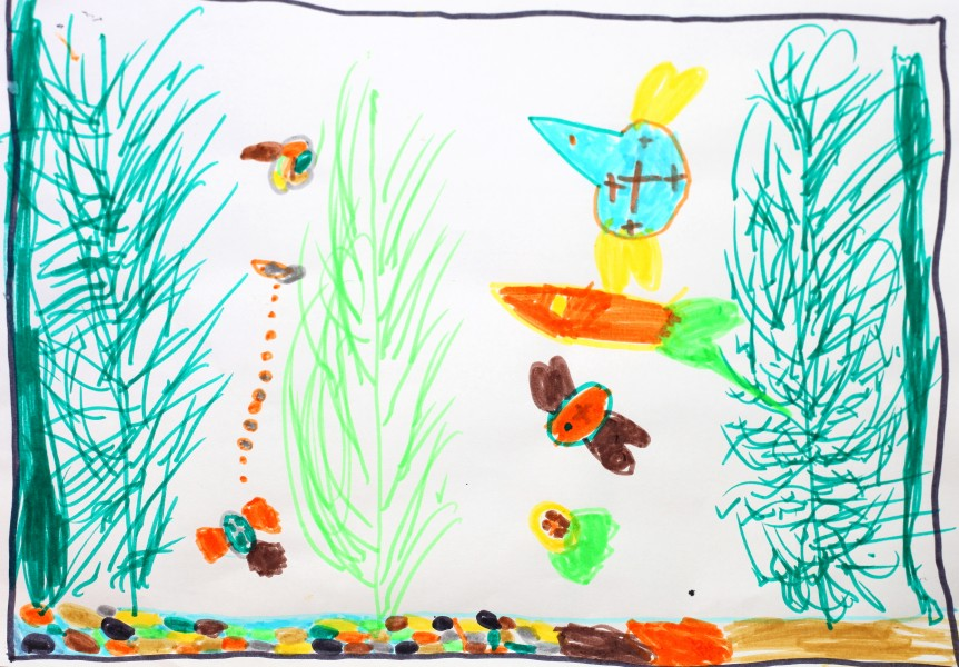 a painting by a 4 to 6 year old girl, picture 1