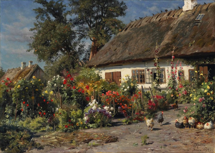 Peder Mønsted - A Cottage Garden with Chickens