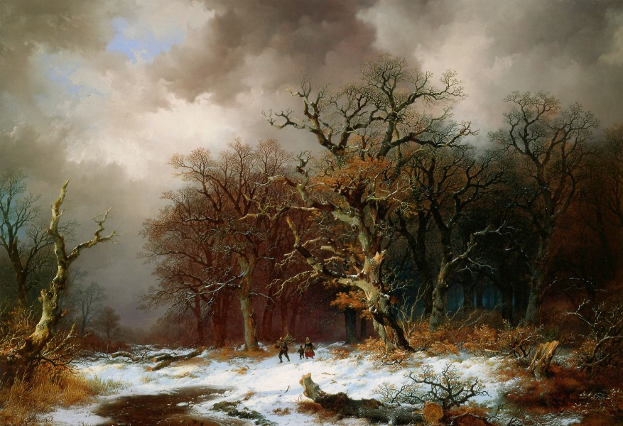 Remigius van Haanen (1812-1894) - Faggot Gatherers in Winter Landscape (Unknown)