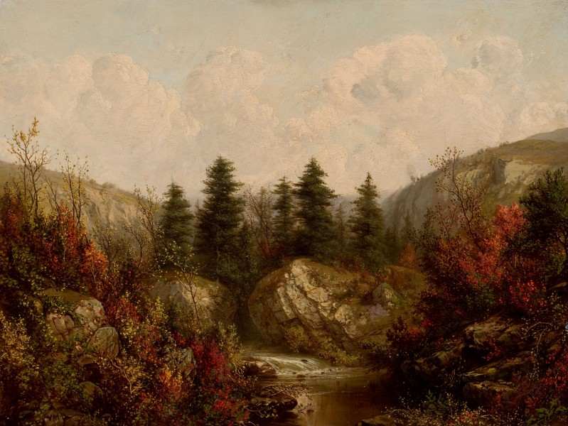River through an Autumn Forest-William Mason Brown