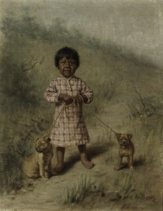 Grace Carpenter Hudson - Greenie with two yellow puppies, 1896