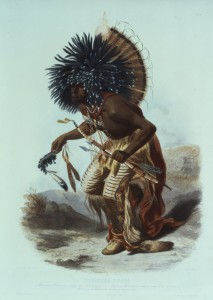 Moennitarri warrior in the costume of the dog danse