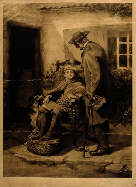 A doctor placing his hand on the head of a sick boy, outside Wellcome V0017093