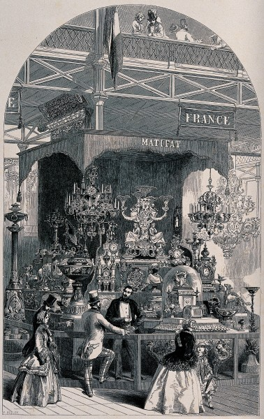 A man selling clocks and elaborate ornaments, talking to his Wellcome V0040141