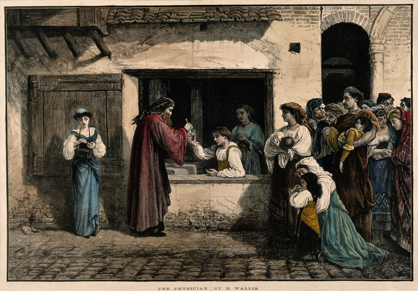 A physician dispensing medicine through a window, a large gr Wellcome V0016099
