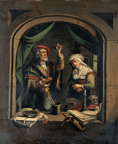 A physician examining a urine flask. Oil painting after G. D Wellcome V0017255