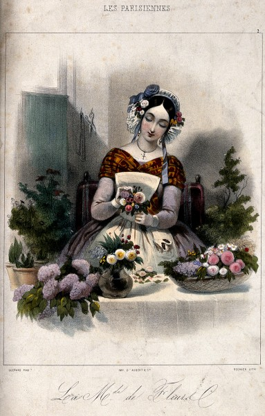 A woman is making up posies and baskets of flowers. Coloured Wellcome V0039719