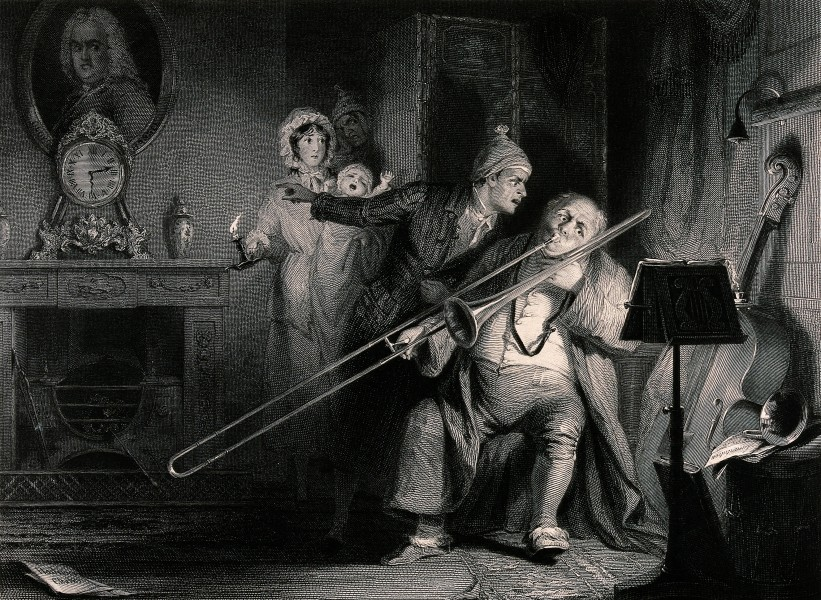 A young man is shouting at a man playing the trombone, for w Wellcome V0040376