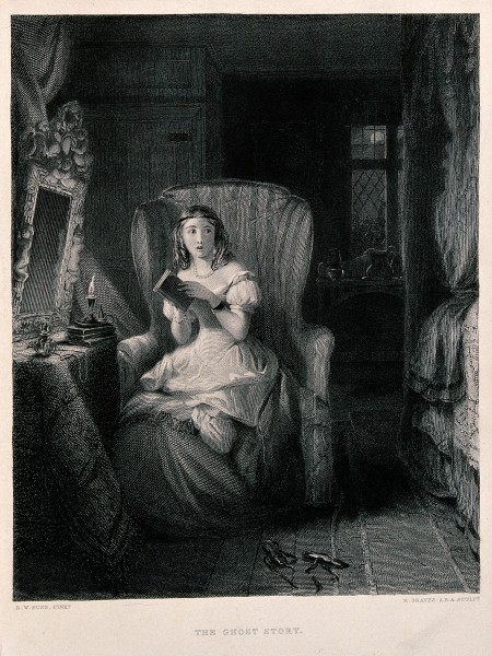 A young woman is sitting in a chair reading a story which ha Wellcome V0040287