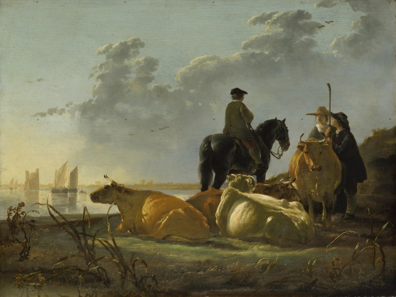 Aelbert Cuyp - Peasants with Four Cows by the River Merwede - WGA5825