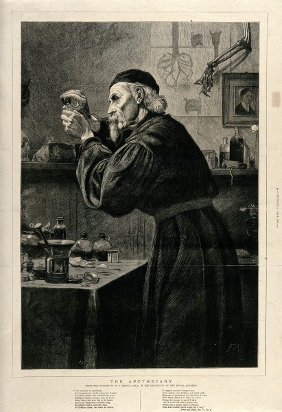 An apothecary in his laboratory concocting a mixture. Wood e Wellcome V0010843