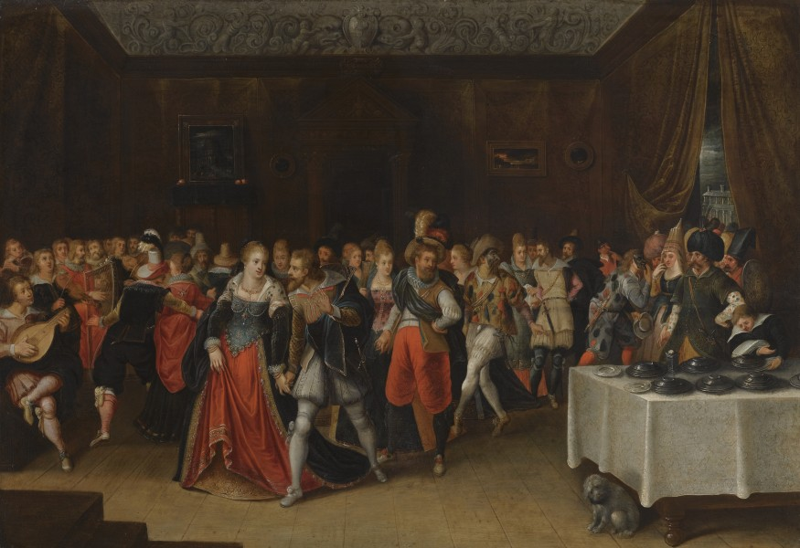 An Interior Scene with Elegant Figures at a Wedding by Hieronymous Francken II
