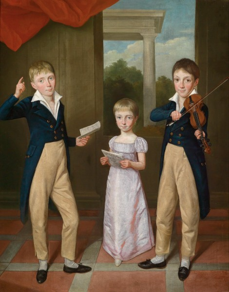 Antoine-Jean Gros Three Children in a House Concert