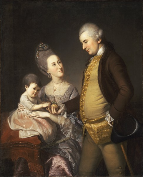 Charles Willson Peale, American - Portrait of John and Elizabeth Lloyd Cadwalader and their Daughter Anne - Google Art Project