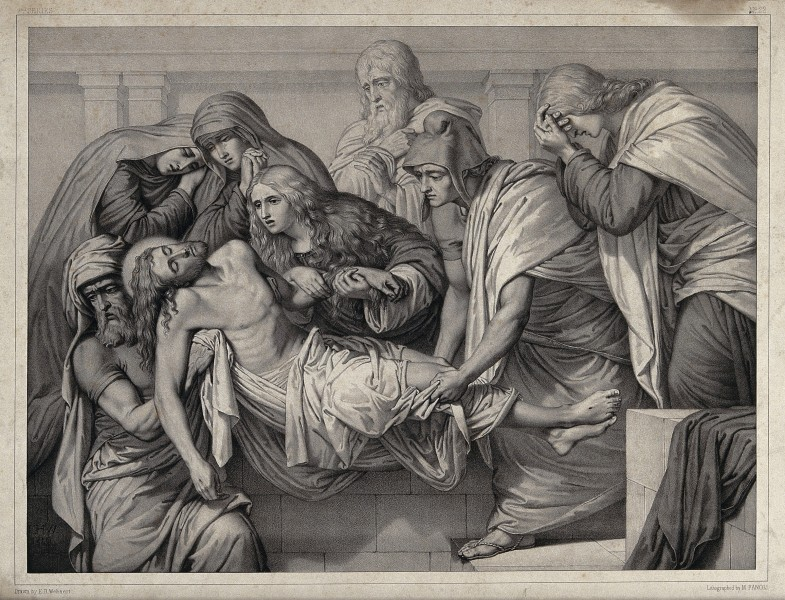 Christ is laid into a tomb. Lithograph by M. Fanoli after E. Wellcome V0034807