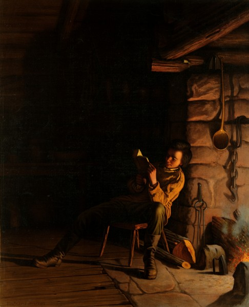 Eastman Johnson, The boyhood of Lincoln, an evening in the log hut, 1868
