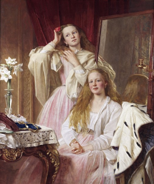 Emma and Federica Bankes of Soughton Hall, by Henry Tanworth Wells