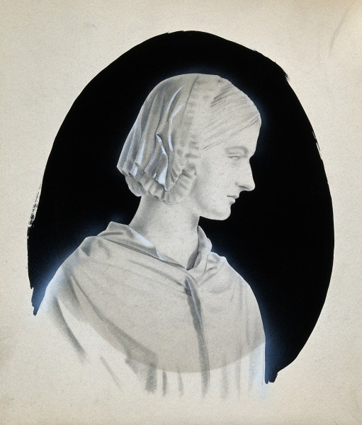Florence Nightingale. Pencil drawing with ink and gouache. Wellcome V0026909