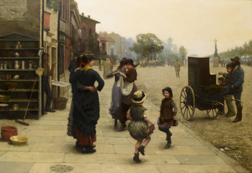 Frederick Brown An impromptu dance - a scene on the Chelsea Embankment 1883
