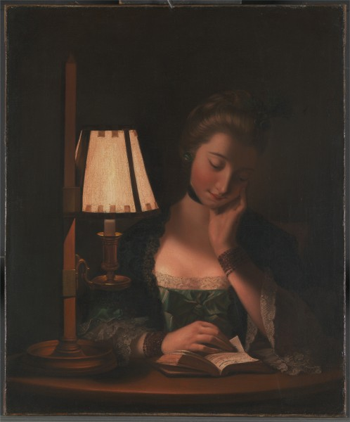Henry Robert Morland - Woman Reading by a Paper-Bell Shade - Google Art Project