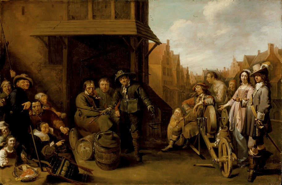 Jacob Duck - A Street Scene with Knife Grinder and Elegant Couple