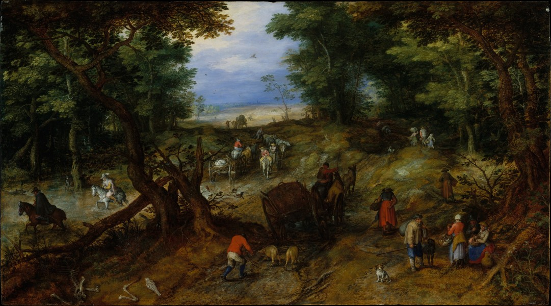 Jan Brueghel (I) - A Woodland Road with Travelers