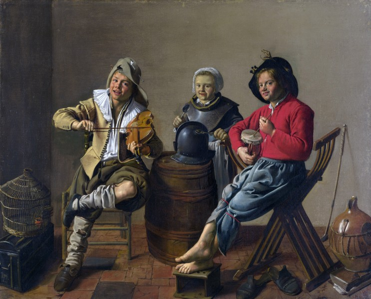 Jan Miense Molenaer - Two Boys and a Girl Making Music - WGA16091