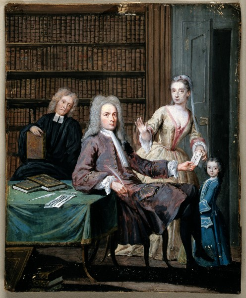 Jean Misaubin and his family. Gouache painting by Joseph Gou Wellcome V0048053