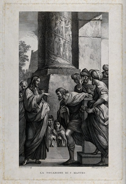 Jesus calls Matthew from among the businessmen of Capernaum. Wellcome V0034720