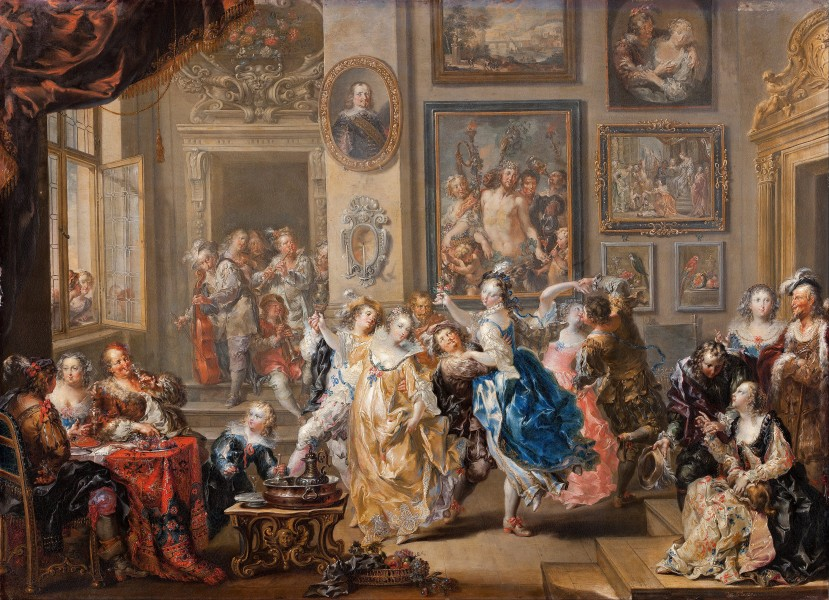 Johann Georg Platzer - Dancing scene with palace interior - Google Art Project