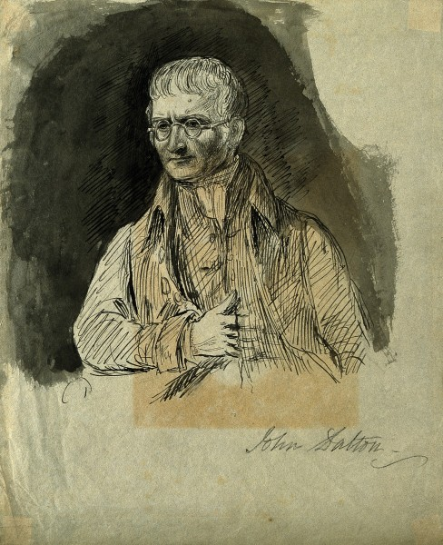 John Dalton. Pen drawing with watercolour wash. Wellcome V0001447