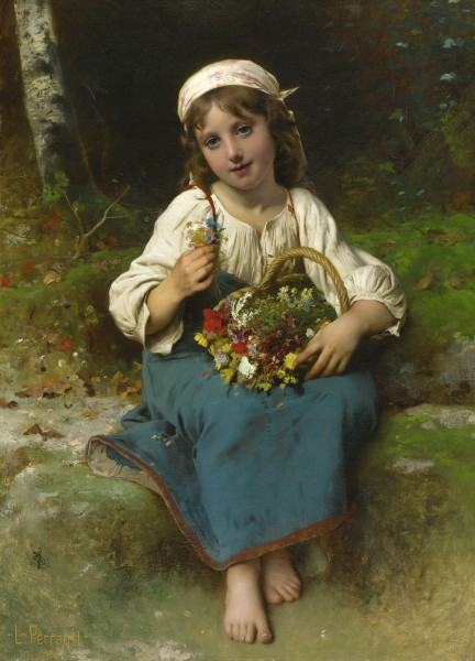 Léon Perrault - Young Girl With A Basket Of Flowers