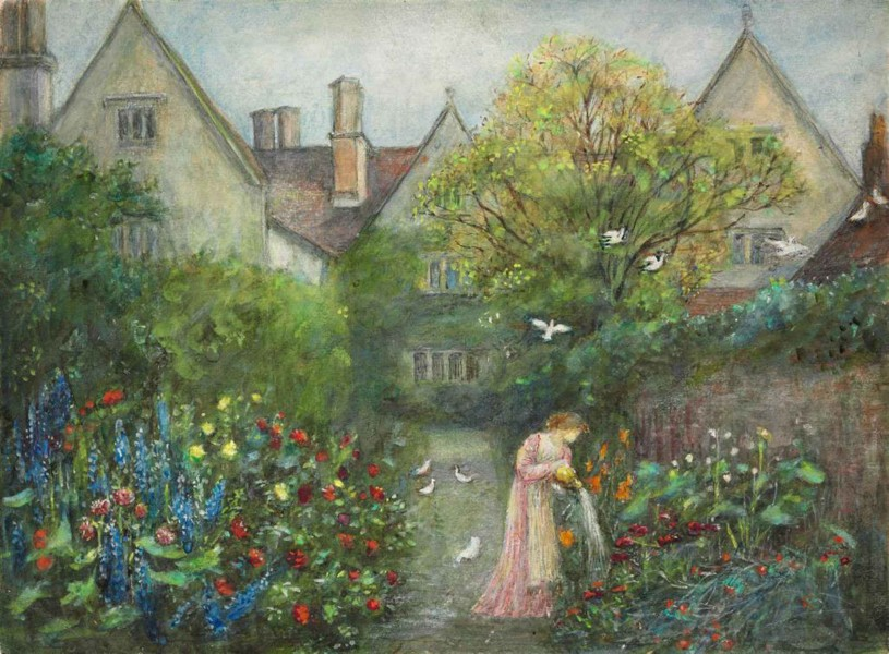 Marie Spartali Stillman - A lady in the garden at Kelmscott Manor, Gloucestershire