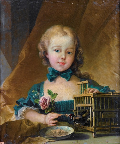 Portrait of Alexandrine Le Normant d'Étiolles (daughter of Madame de Pompadour), playing with a Goldfinch
