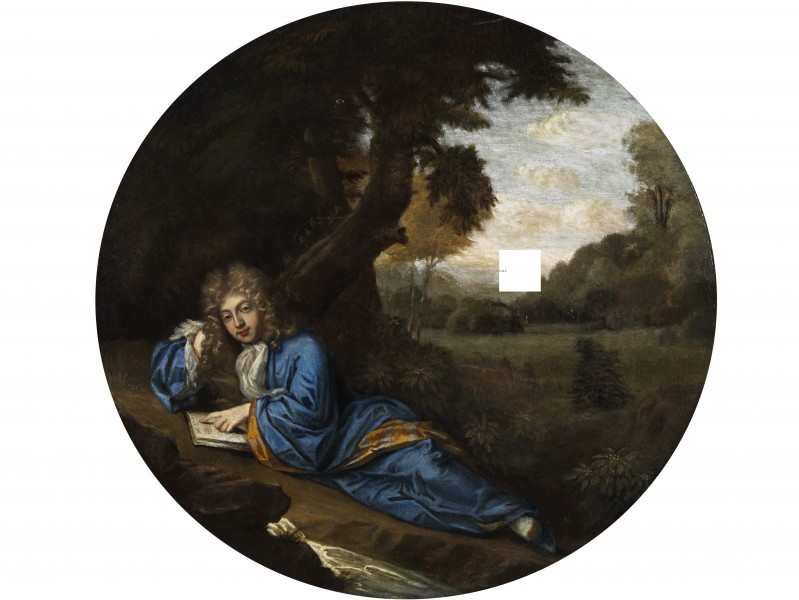 Reading nobleman in a park French 18th century