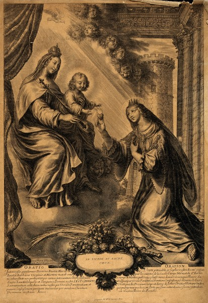 Saint Barbara. Engraving by G. Huret. Wellcome V0031661
