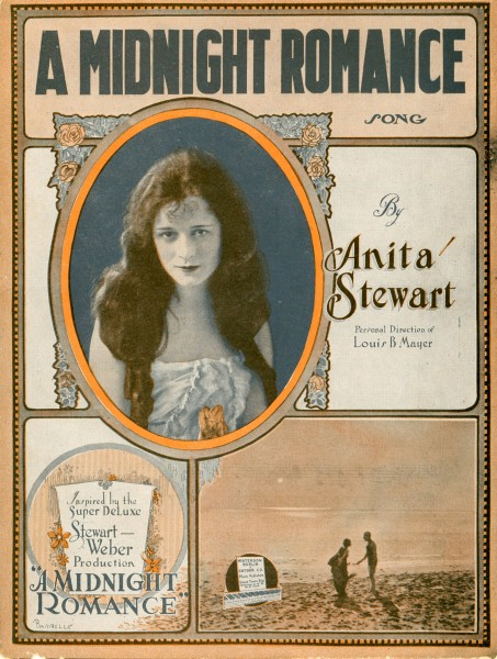 Sheet music cover - A MIDNIGHT ROMANCE - LONELY MARY (1919)