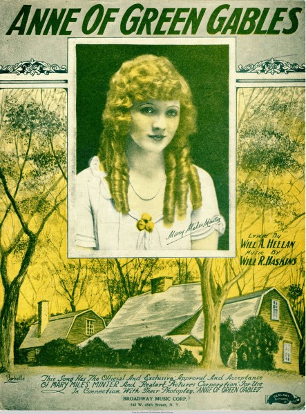 Sheet music cover - ANNE OF GREEN GABLES (1919)