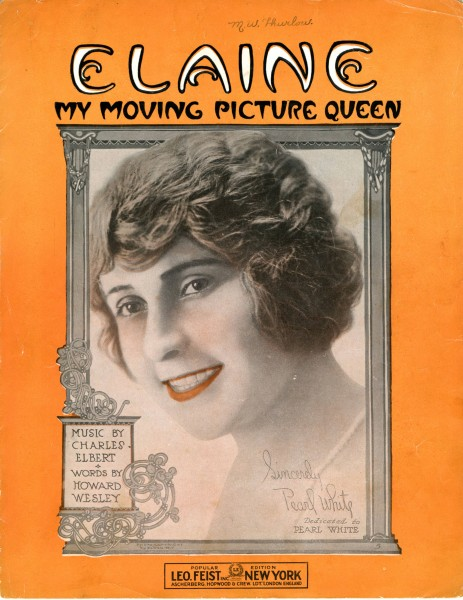 Sheet music cover - ELAINE - MY MOVING PICTURE QUEEN (1915)