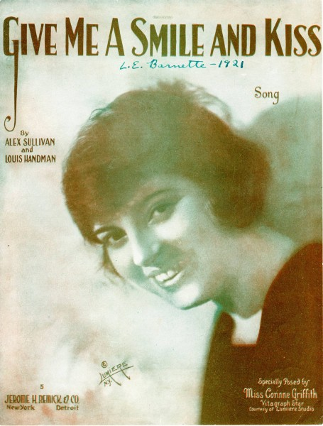 Sheet music cover - GIVE ME A SMILE AND A KISS - SONG (1919)